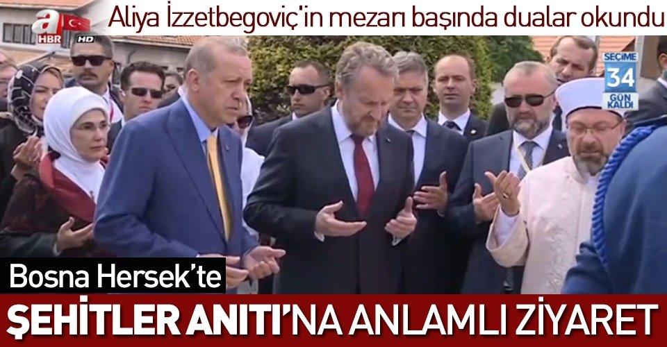 Cumhurbaşkanı Erdoğan Aliya İzzetbegoviçin mezarını ziyaret etti