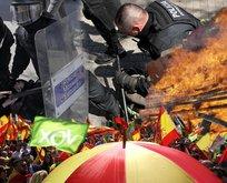 Barselona'da sokaklar savaş alanına döndü