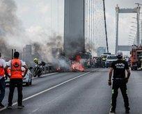 15 Temmuz Şehitler Köprüsü'nde araç yangını!