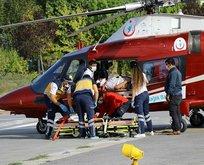 Ambulans helikopterle kurtarıldı