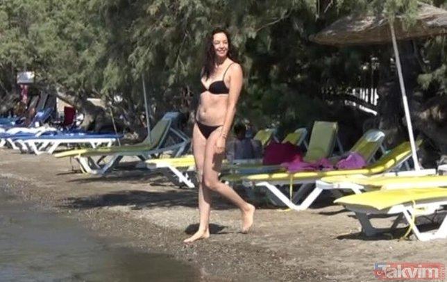 Azra Akın eşi ve oğluyla Bodrum'da! 2002 Türkiye güzeli plaja indi gören dönüp bir daha baktı!