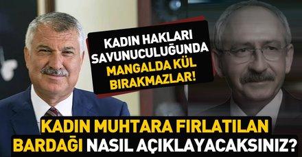 HDP destekli CHP ve İP'in, Adana Büyükşehir adayı Zeydan Karalar'dan skandal hareket! Kadın muhtara çay bardağı fırlattı