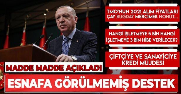 Başkan Erdoğan esnafa destek paketini duyurdu