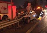 TEMde feci kaza: Ok gibi saplandı