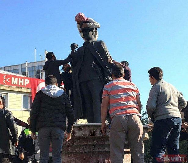 Atatürk heykeline çıkan balici linç edildi