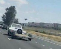 ABD'de feci olay! F-16 jeti deponun çatısına düştü
